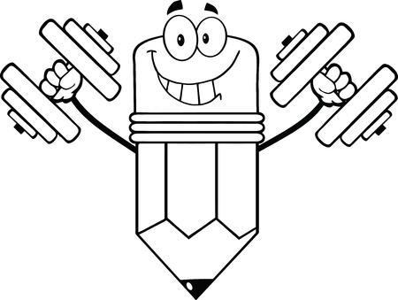 pencil cartoon: L�piz contorno Cartoon Character Entrenamiento Con Pesas