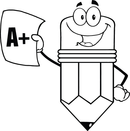 Outlined Smiling Pencil Holding An A Plus Report Card Vector