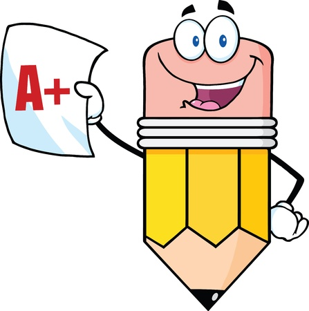 Smiling Pencil Holding An A Plus Report Card Vector