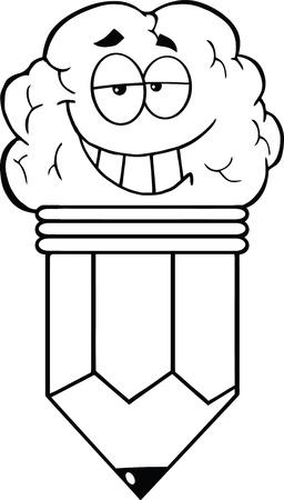 pencil cartoon: Esboz� Clever L�piz personaje de dibujos animados