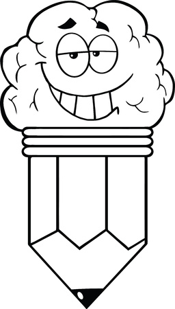Outlined Clever Pencil Cartoon Character Vector