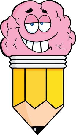 Clever Pencil Cartoon Character Vector