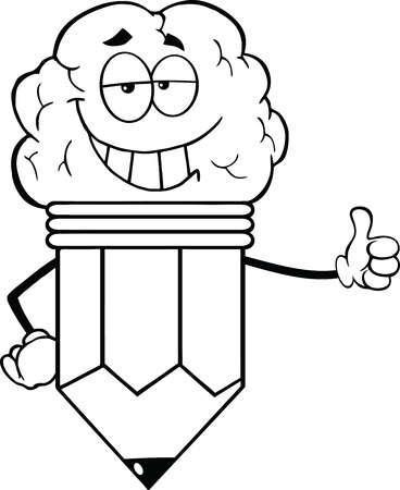 Outlined Clever Pencil Cartoon Character With Big Brain Giving A Thumb Up
