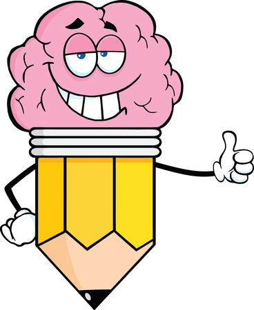 Clever Pencil Cartoon Character With Big Brain Giving A Thumb Up Vector