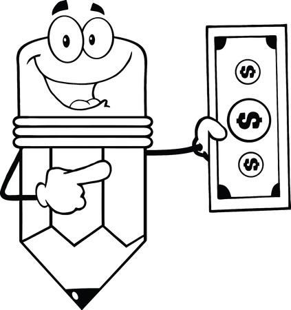 pencil cartoon: L�piz contorno de dibujos animados mostrando un billete de d�lar