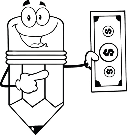 Outlined Pencil Cartoon Character Showing A Dollar Bill Vector