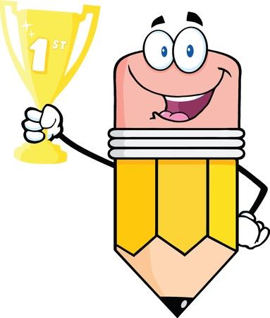 pencil cartoon: Feliz L�piz personaje de dibujos animados celebraci�n trofeo de la Copa de Oro Vectores