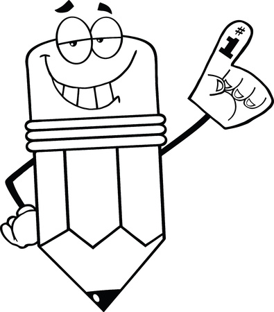 Outlined Smiling Pencil Cartoon Character With Foam Finger Illustration