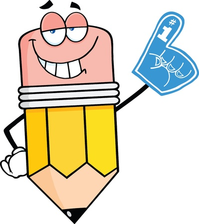 Smiling Pencil Cartoon Character With Foam Finger