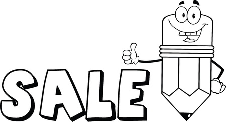 Outlined Pencil Cartoon Character Giving A Thumb Up With Text Sale
