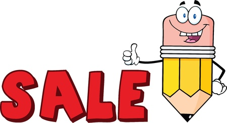 Happy Pencil Cartoon Character Giving A Thumb Up With Text Sale