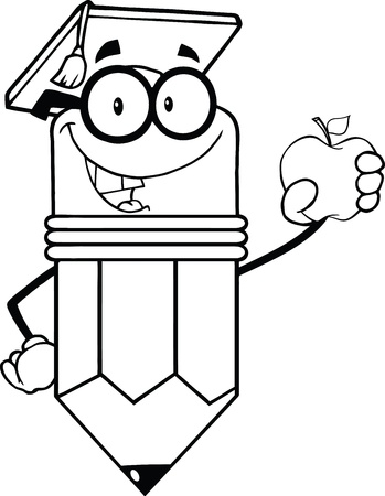 Outlined Pencil Teacher With Graduate Hat Holding A Red Apple Vector