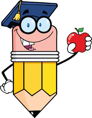 yellow apple: Pencil Teacher With Graduate Hat Holding A Red Apple