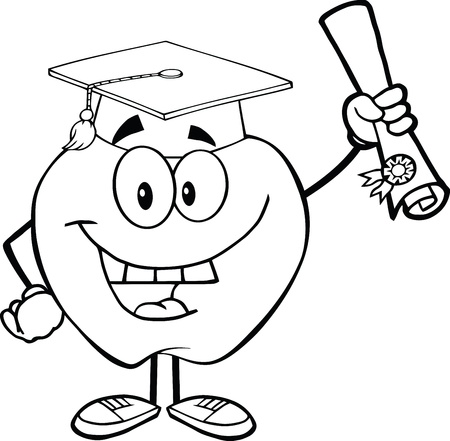 Outlined Smiling Apple Character Graduate Holding A Diploma Vector