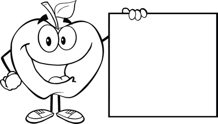 apple cartoon: Outlined Happy Apple Cartoon Character Showing A Blank Sign