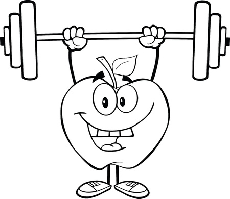 lifting weights: Outlined Smiling Apple Cartoon Character Lifting Weights