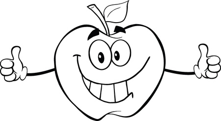 Outlined Happy Apple Cartoon Character Giving A Thumb Up Vector