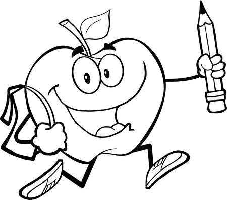 Outlined Happy Apple Character With School Bag And Pencil Goes To School Vector