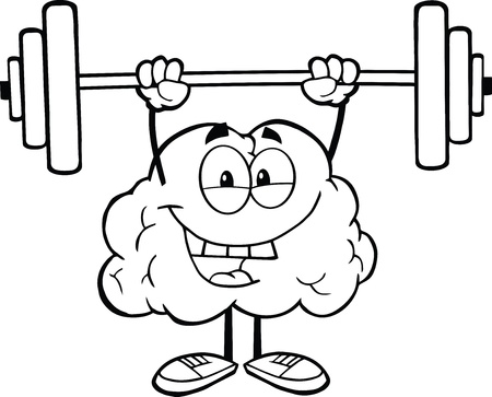 Outlined Happy Brain Character Lifting Weights