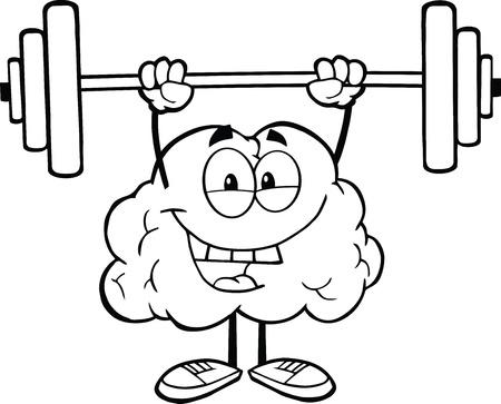 Geschetste Gelukkige Hersenen Karakter Tillen Gewichten Stock Illustratie
