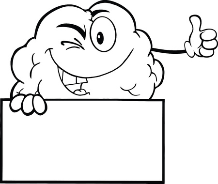 Outlined Winking Brain Character Holding A Thumb Up Over Sign Vector