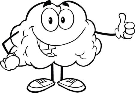 cerebro blanco y negro: Esbozó Carácter feliz del cerebro dando un pulgar arriba