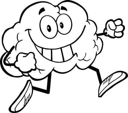 Outlined Healthy Brain Cartoon Character Jogging Vector