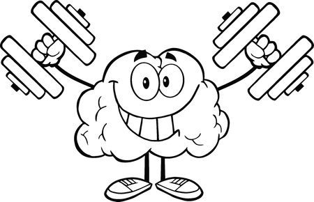 Outlined Smiling Brain Cartoon Character Training With Dumbbells Vector