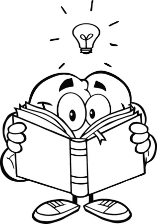 Outlined Smiling Brain Cartoon Character Reading A Book Under Light Bulb Illustration