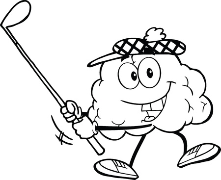 Outlined Smiling Brain Cartoon Character Swinging A Golf Club Illustration