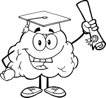 Outlined Happy Brain Character Graduate Holding up A Diploma Stock Vector - 21220673