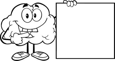cerebro blanco y negro: Esbozado feliz Cerebro personaje de dibujos animados mostrando un cartel en blanco