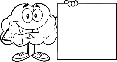 outlined: Outlined Happy Brain Cartoon Character Showing A Blank Sign Illustration