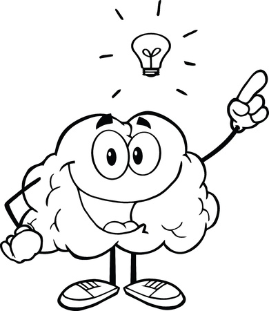 Outlined Happy Brain Character With A Big Idea
