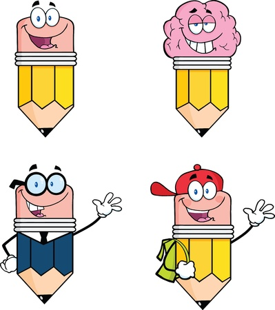 Pencil Cartoon Characters  Set Collection 7 Vector
