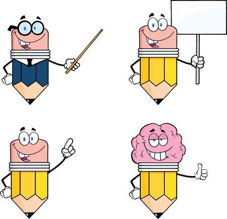 Pencil Cartoon Characters  Set Collection 3 Vector