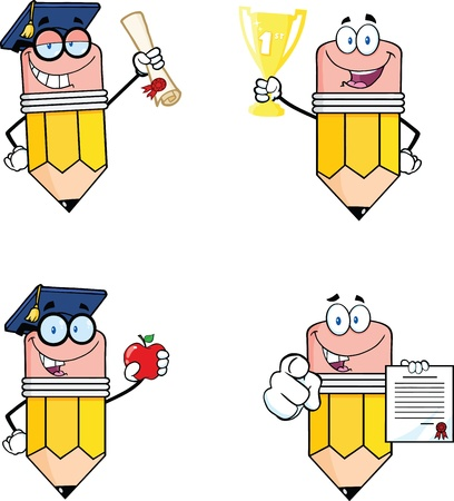 Pencil Cartoon Characters  Set Collection 4 Vector