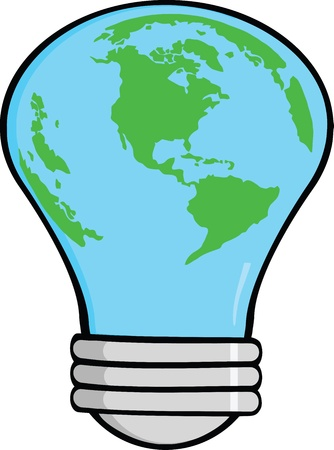 Cartoon Light Bulb Earth Vector