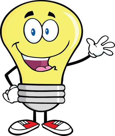 Light Bulb Cartoon Character Waving For Greeting