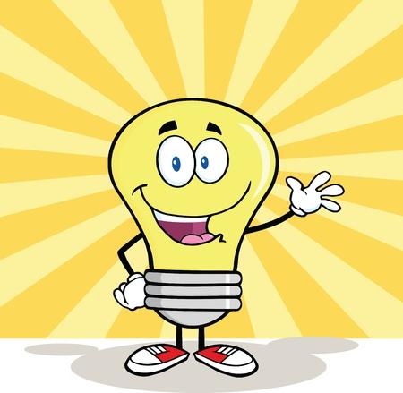 Light Bulb Cartoon Mascot Character Waving For Greeting Vector