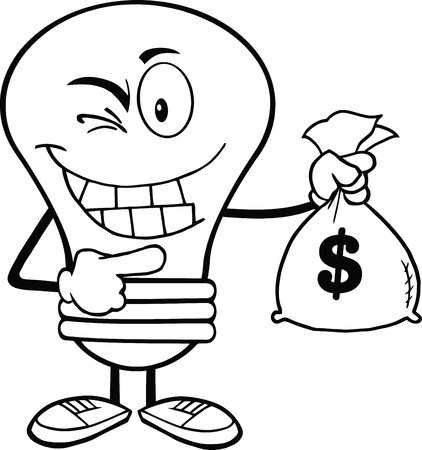 Outlined Light Bulb Cartoon Mascot Character Holding A Bag Of Money Stock Vector - 21311622