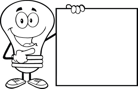 Outlined Light Bulb Cartoon Mascot Character Showing A Blank Sign Stock Vector - 21311625