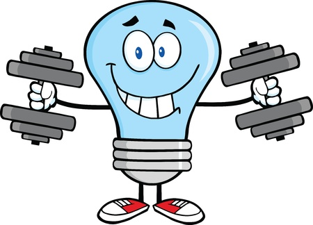 Smiling Blue Light Bulb Cartoon Character Training With Dumbbells