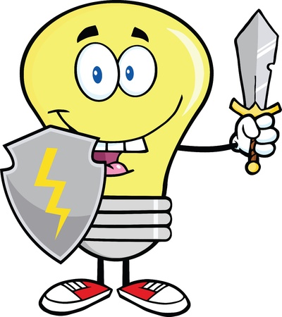 Light Bulb Guarder With Shield And Sword Vector
