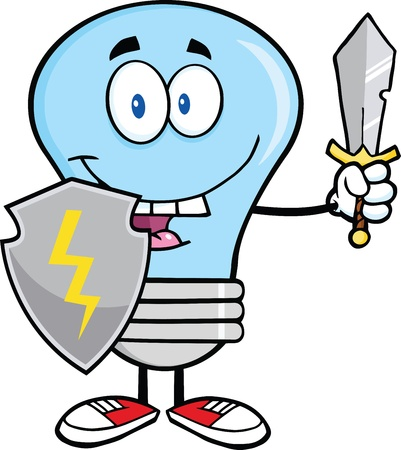 Blue Light Bulb Guarder With Shield And Sword Vector