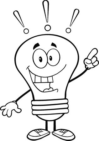 明るいアイデアと電球の漫画のキャラクターを概説  イラスト・ベクター素材