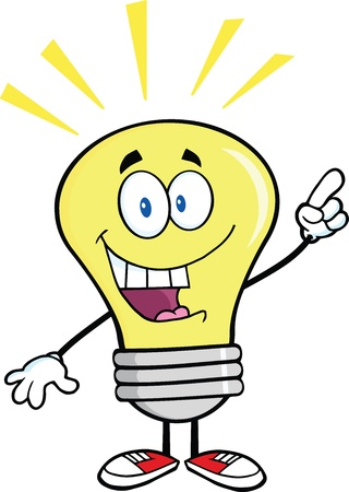 Światło żarówki Cartoon Character z pomysłem jasne Ilustracje wektorowe