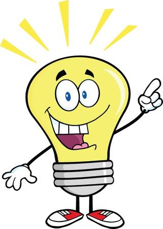 Lampadina personaggio dei cartoni animati con una brillante idea Archivio Fotografico - 21311652