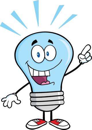 solve a problem: Blue Light Bulb Cartoon Character With A Bright Idea
