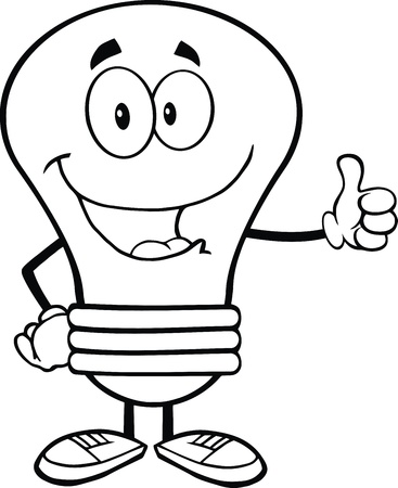 outlined isolated: Outlined Blue Light Bulb Cartoon Mascot Character Giving A Thumb Up